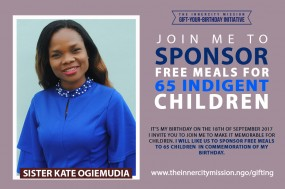 Join Me To Sponsor Free Meals For 65 Children