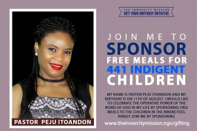 JOIN ME TO SPONSOR FREE MEALS FOR INDIGENT CHILDREN