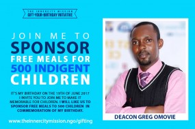 Join me to sponsor free meals for 500 indigent children