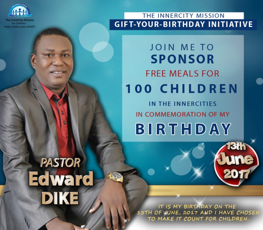 JOIN ME TO SPONSOR FREE MEALS FOR 100 CHILDREN IN THE INNERCITIES IN COMMEMORATION OF MY BIRTHDAY