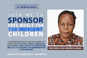 JOIN ME TO SPONSOR MEALS FOR 150 INDIGENT CHILDREN