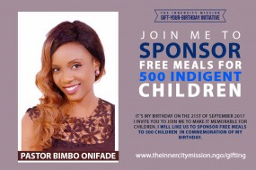 JOIN ME TO GIFT FREE MEALS TO 500 INDIGENT CHILDREN