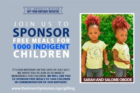 JOIN US TO SPONSOR FREE MEALS FOR 1000 INDIGENT CHILDREN