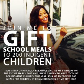 JOIN ME TO SPONSOR MEALS FOR 100 INDIGENT CHILDREN