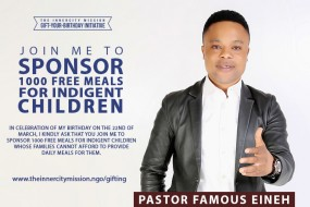 Join Me To Sponsor 1000 Free Meals for Indigent Children