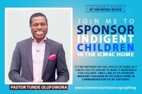 Join Me To Sponsor Indigent Children In The InnerCity Mission Home