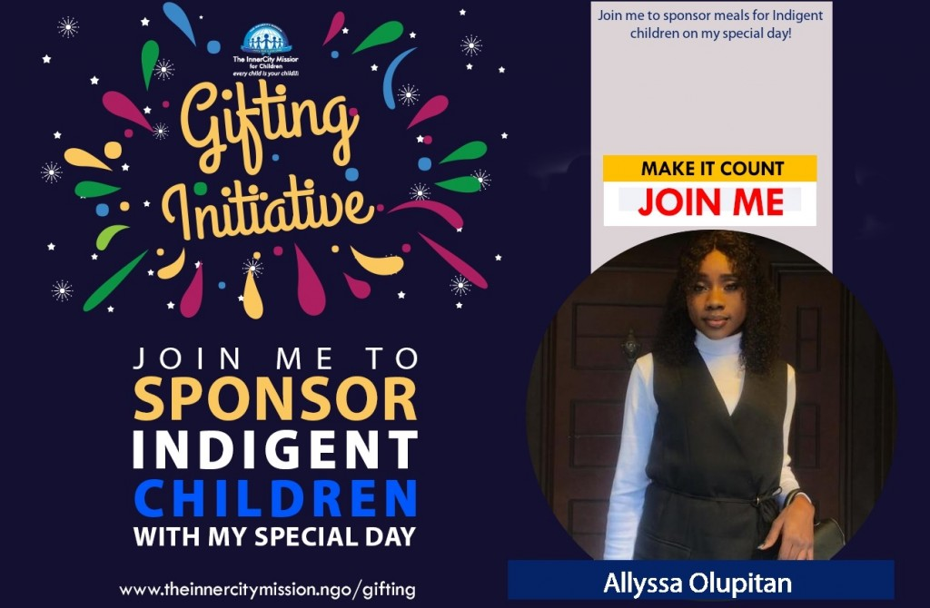 Join me to Sponsor Meals for Indigent Children on my Special Day